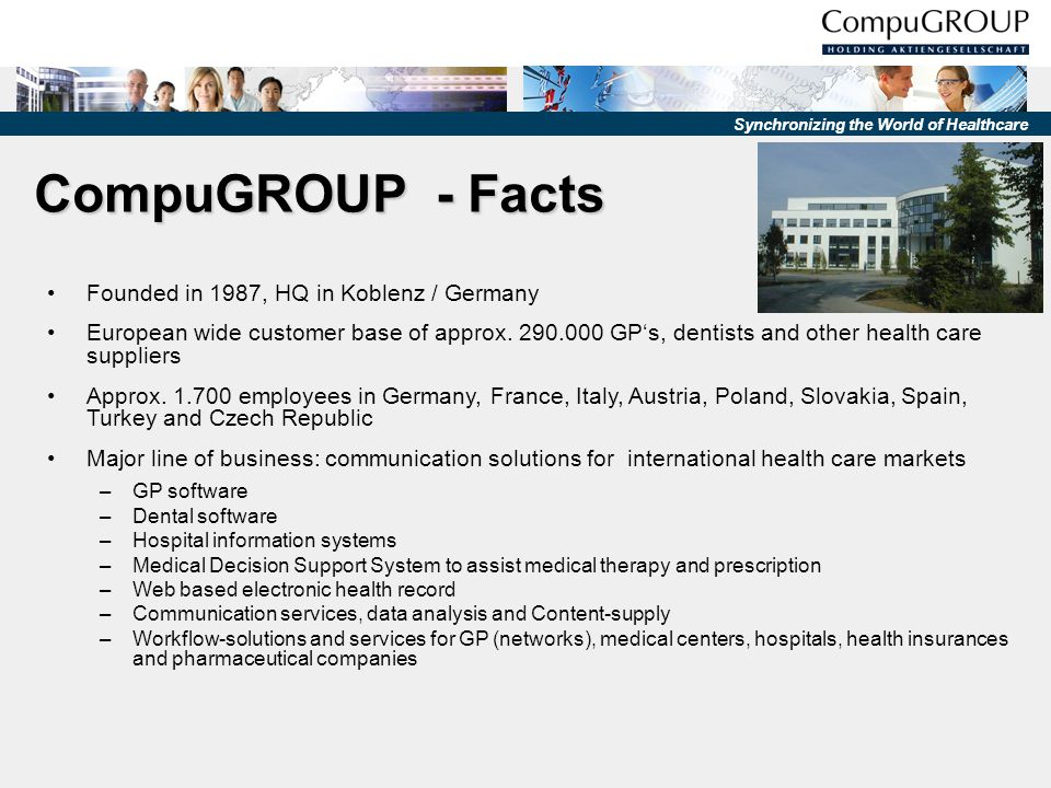 CompuGROUP - Facts Founded in 1987, HQ in Koblenz / Germany