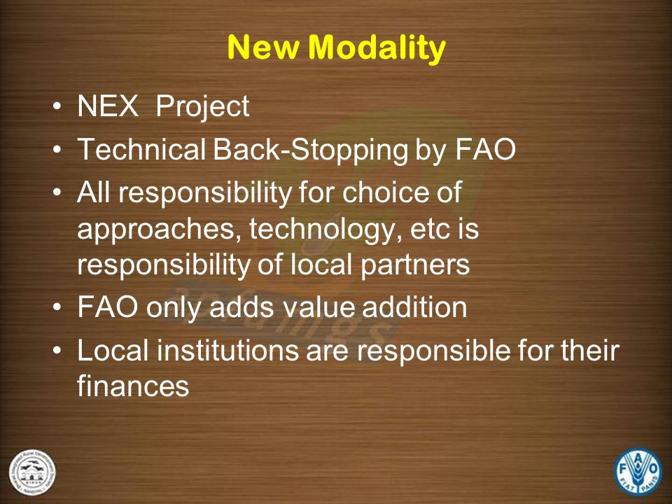New Modality NEX Project Technical Back-Stopping by FAO