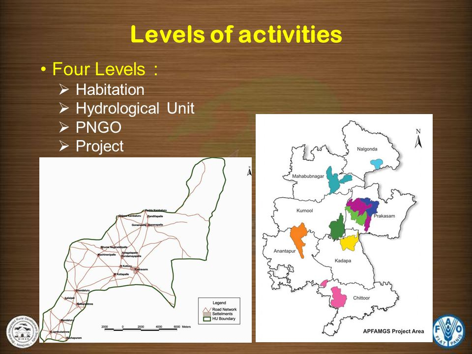 Levels of activities Four Levels : Habitation Hydrological Unit PNGO
