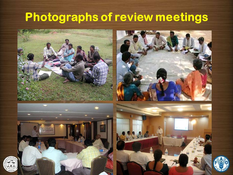 Photographs of review meetings