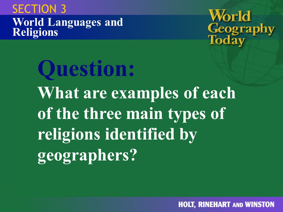 SECTION 3 World Languages and Religions.