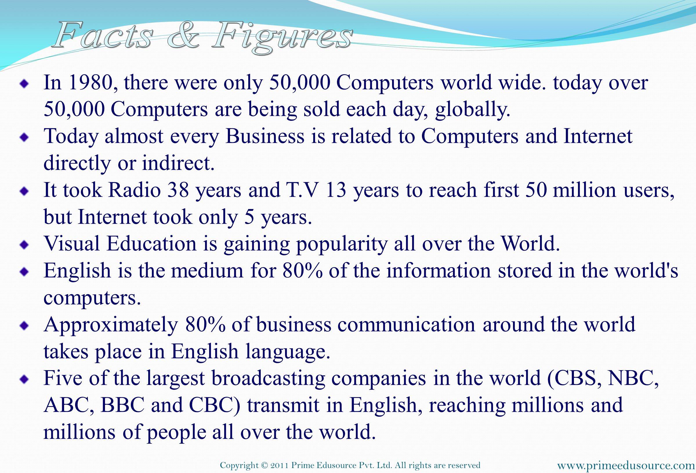 Facts & Figures In 1980, there were only 50,000 Computers world wide. today over 50,000 Computers are being sold each day, globally.
