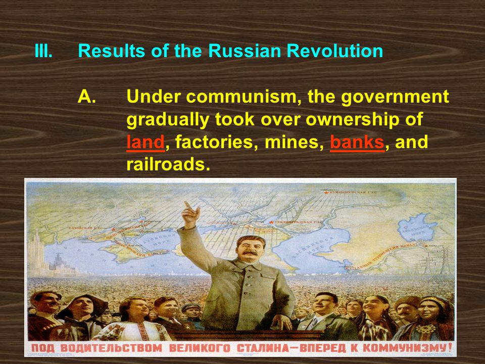 III. Results of the Russian Revolution. A