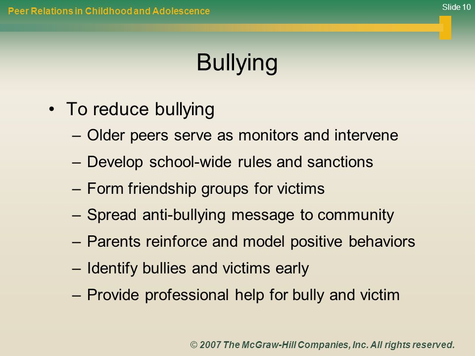 Bullying To reduce bullying