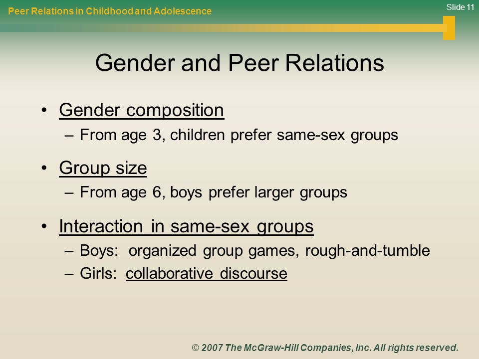 Gender and Peer Relations