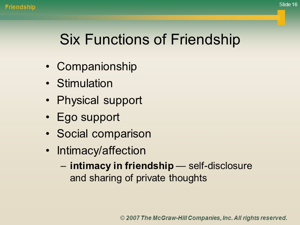 Six Functions of Friendship