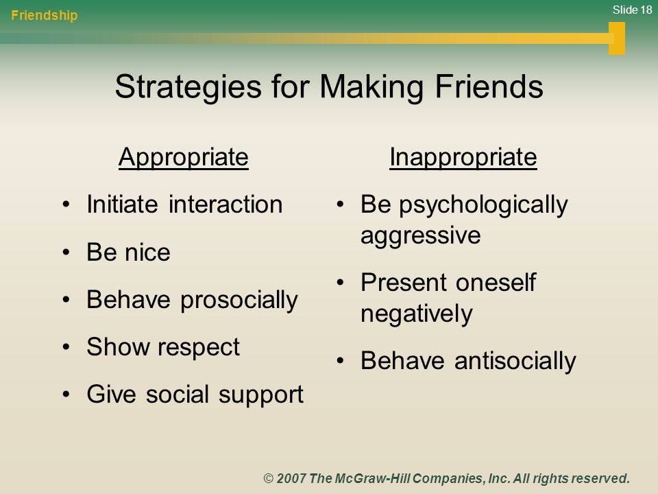 Strategies for Making Friends