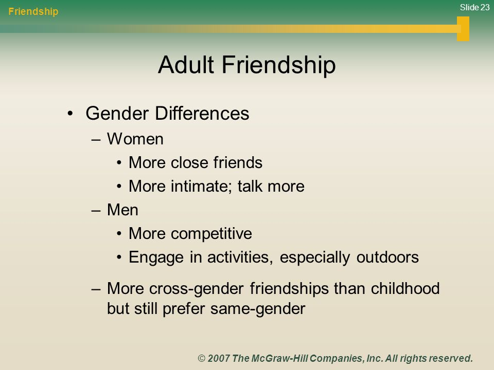 Adult Friendship Gender Differences Women More close friends
