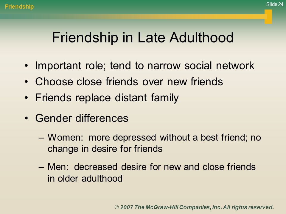 Friendship in Late Adulthood
