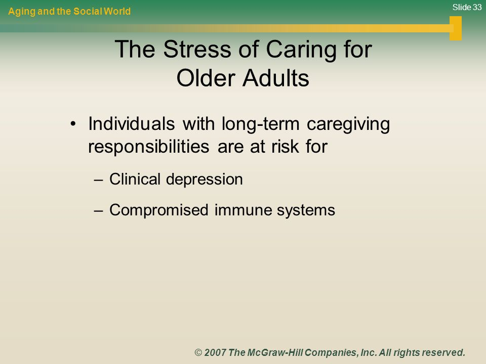the stress of caring Rethinking caregiver stress if you're caring for an aging or ill family member or other loved one, you know that it's stressful -- there's no question about that.