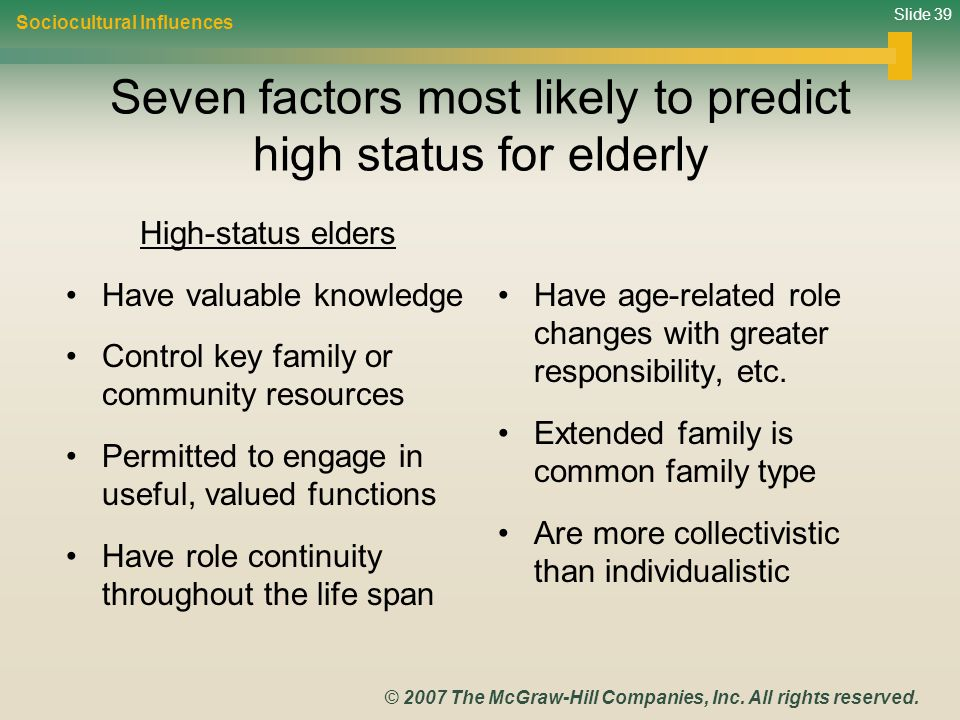 Seven factors most likely to predict high status for elderly