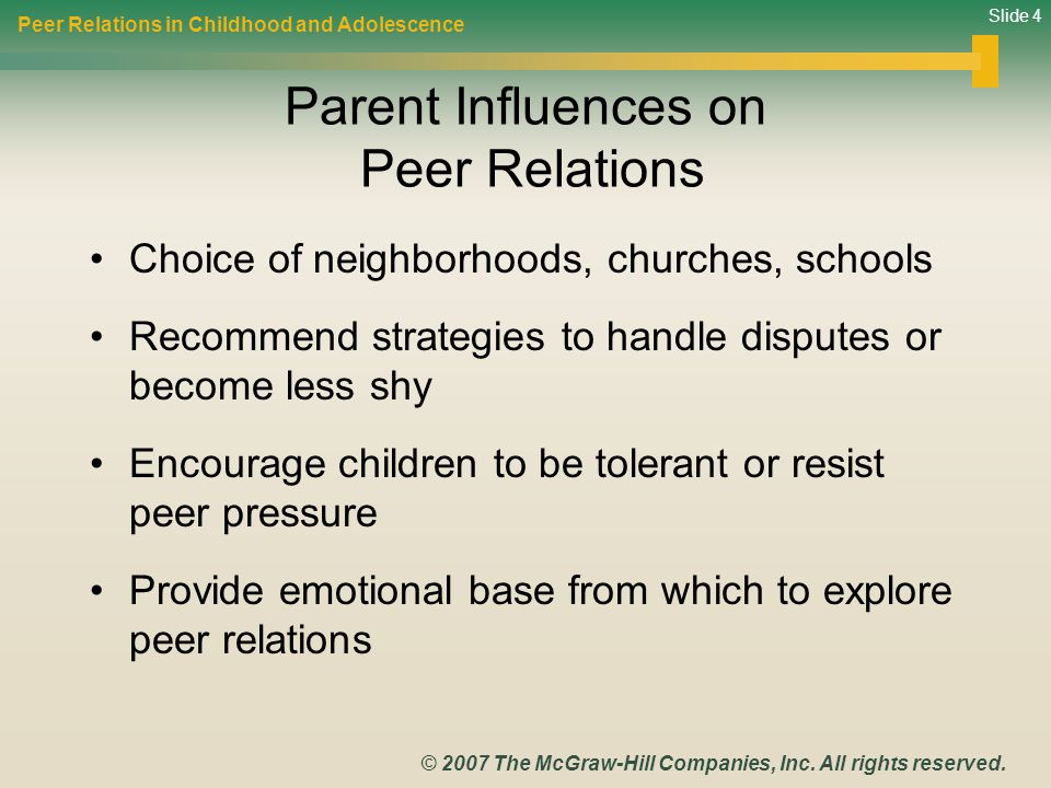 Parent Influences on Peer Relations