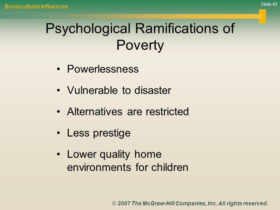 Psychological Ramifications of Poverty