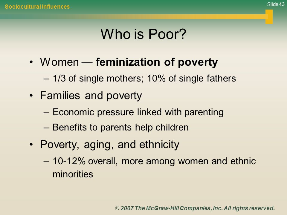 Who is Poor Women — feminization of poverty Families and poverty