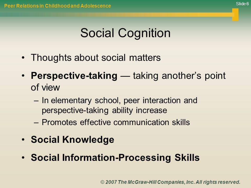 Social Cognition Thoughts about social matters