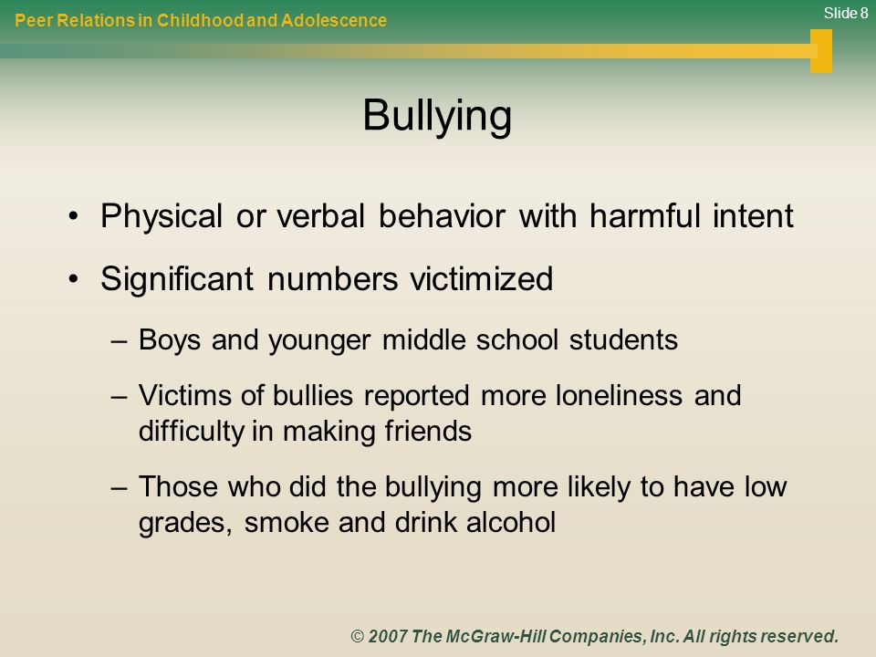 Bullying Physical or verbal behavior with harmful intent