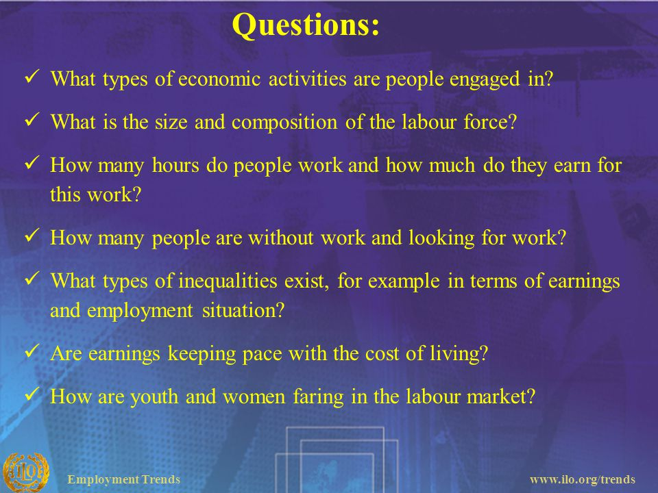 Questions: What types of economic activities are people engaged in