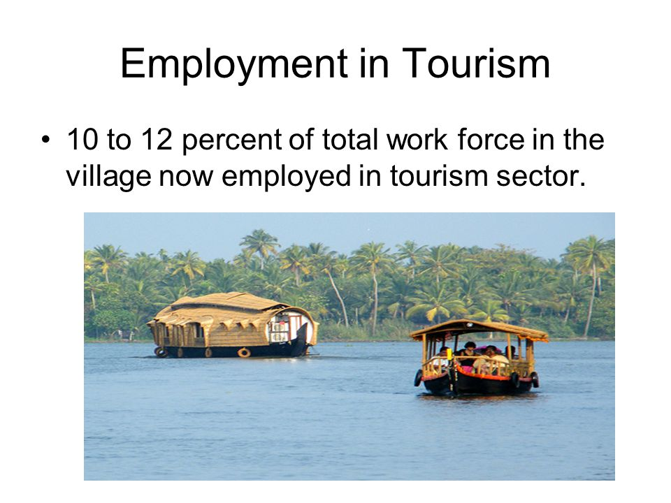 Employment in Tourism 10 to 12 percent of total work force in the village now employed in tourism sector.