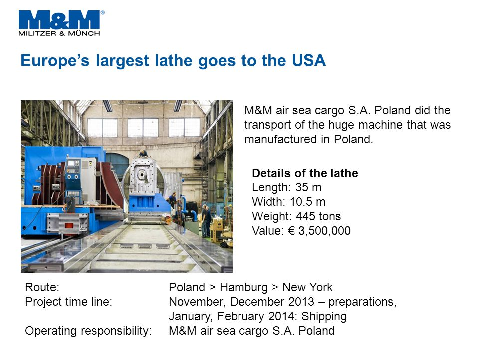 Europe's largest lathe goes to the USA