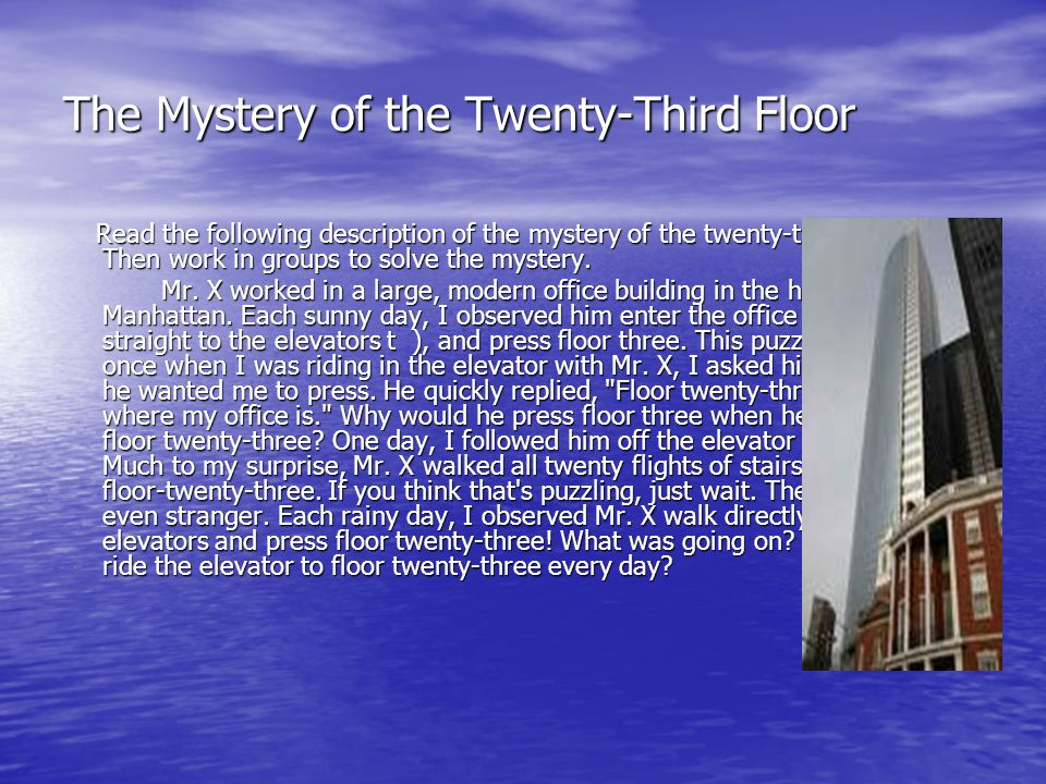 The Mystery of the Twenty-Third Floor