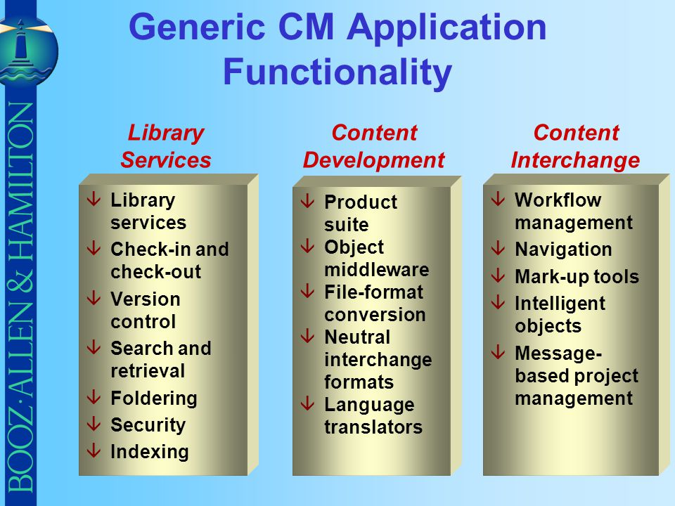Generic CM Application Functionality
