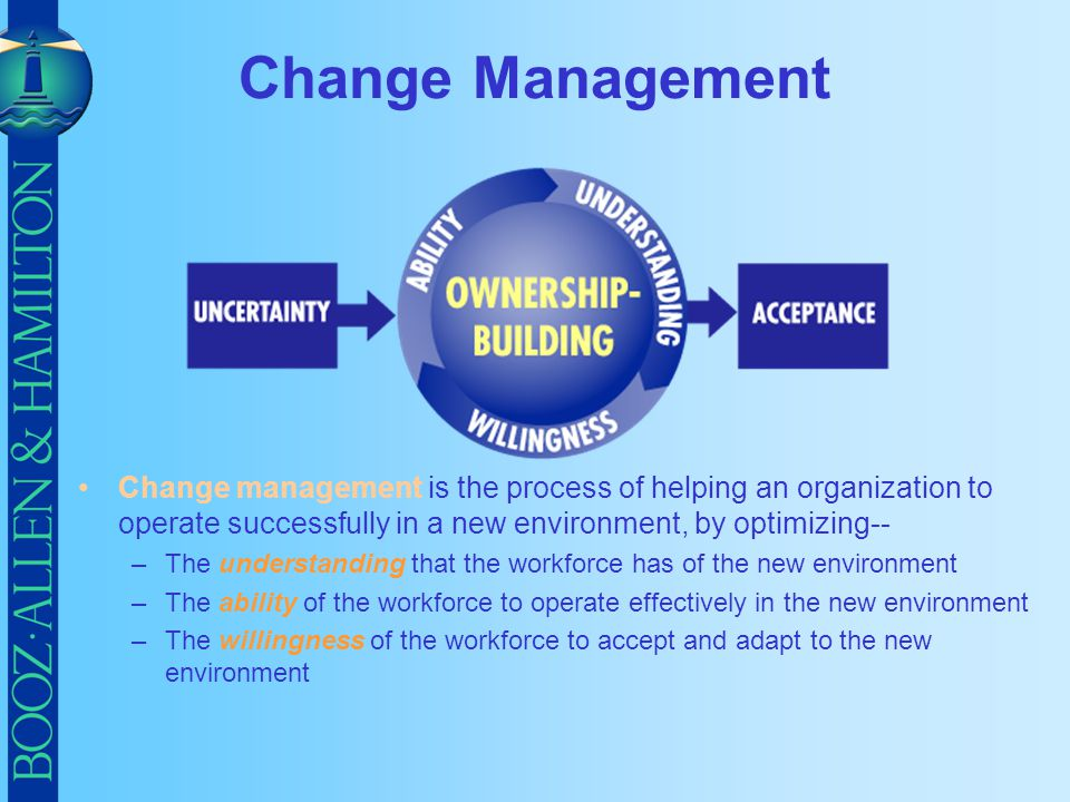 Change Management Change management is the process of helping an organization to operate successfully in a new environment, by optimizing--