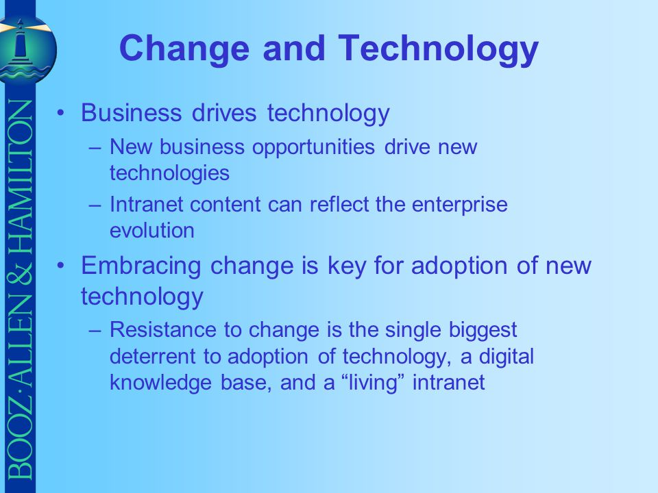 Change and Technology Business drives technology