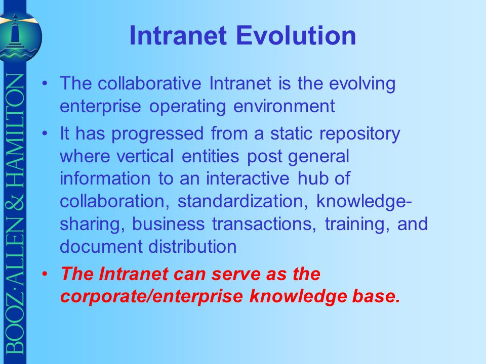 Intranet Evolution The collaborative Intranet is the evolving enterprise operating environment.