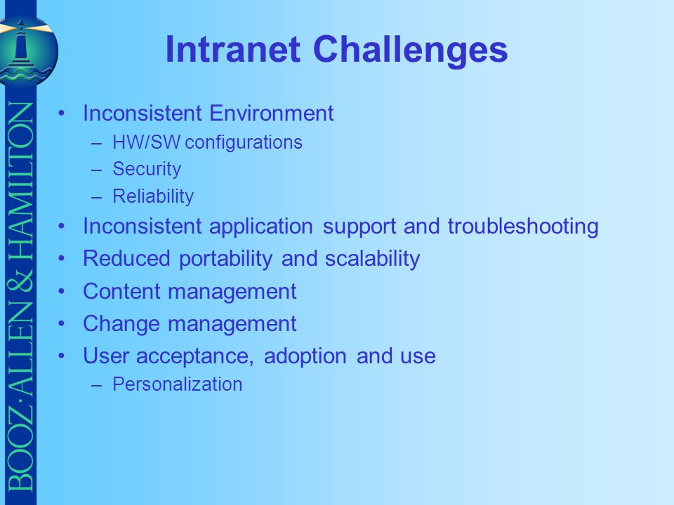 Intranet Challenges Inconsistent Environment
