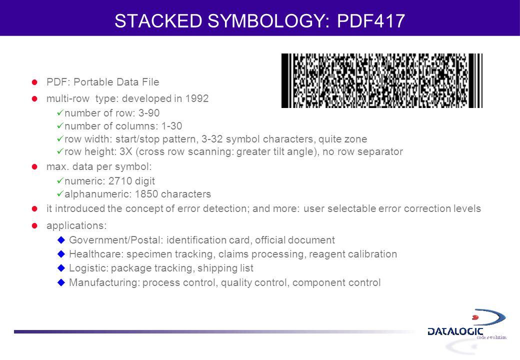 STACKED SYMBOLOGY: PDF417