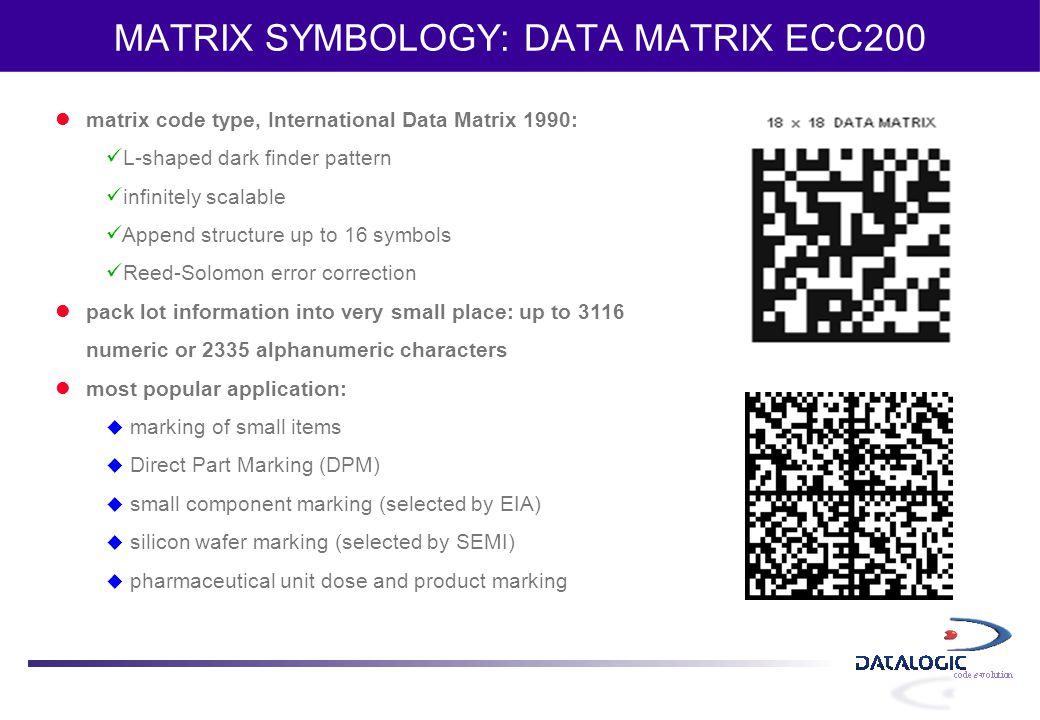 MATRIX SYMBOLOGY: DATA MATRIX ECC200