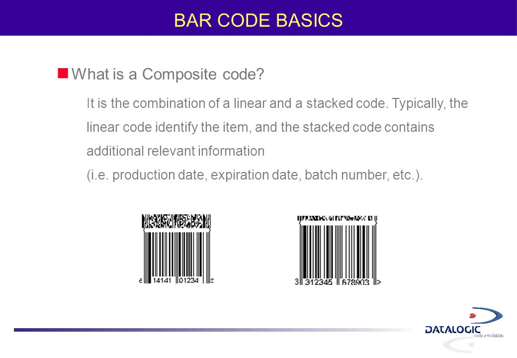 BAR CODE BASICS What is a Composite code