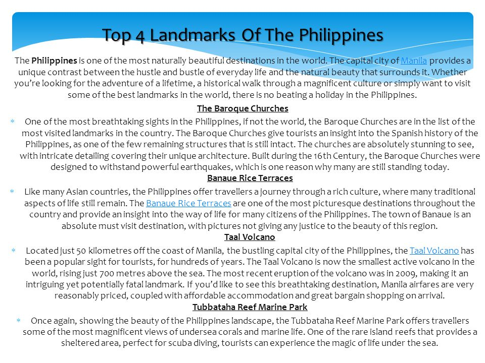 Top 4 Landmarks Of The Philippines