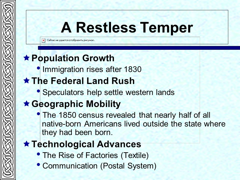 A Restless Temper Population Growth The Federal Land Rush