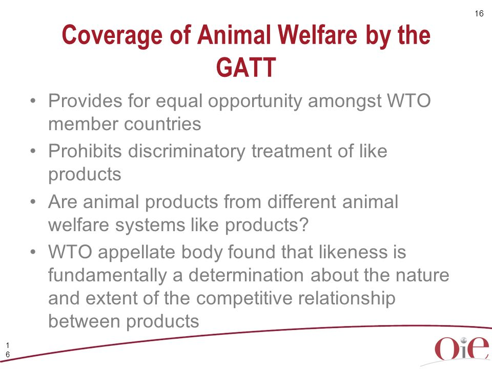 Coverage of Animal Welfare by the GATT