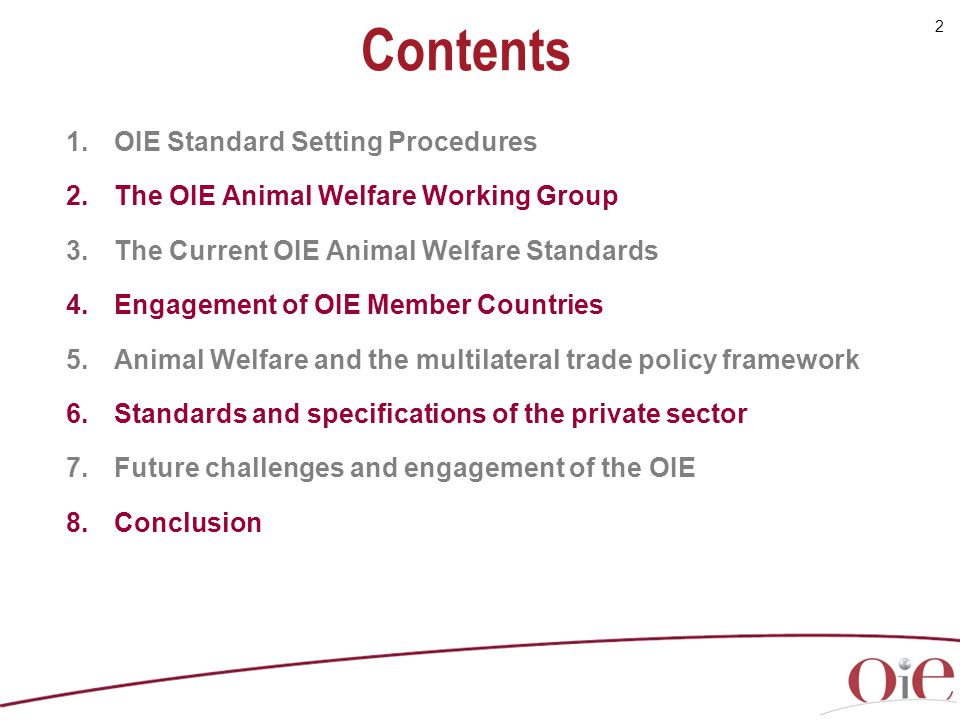Contents OIE Standard Setting Procedures