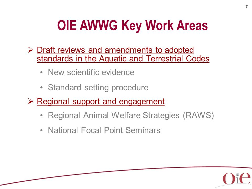 OIE AWWG Key Work Areas Draft reviews and amendments to adopted standards in the Aquatic and Terrestrial Codes.