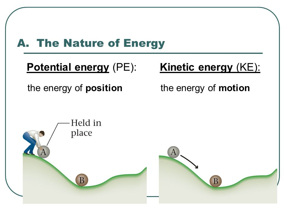 A. The Nature of Energy Potential energy (PE): Kinetic energy (KE):