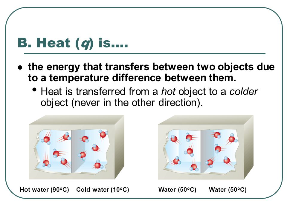 B. Heat (q) is…. the energy that transfers between two objects due to a temperature difference between them.