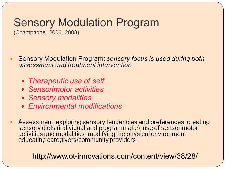 Sensory Modulation Program (Champagne, 2006, 2008)