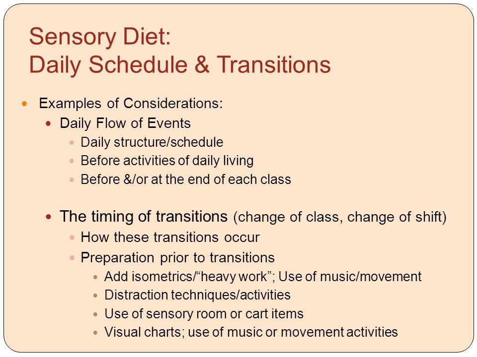 Sensory Diet: Daily Schedule & Transitions