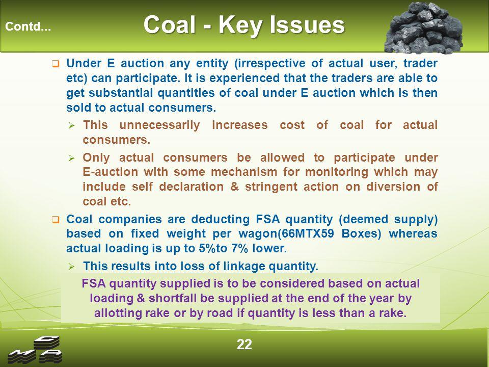 Coal - Key Issues Contd...