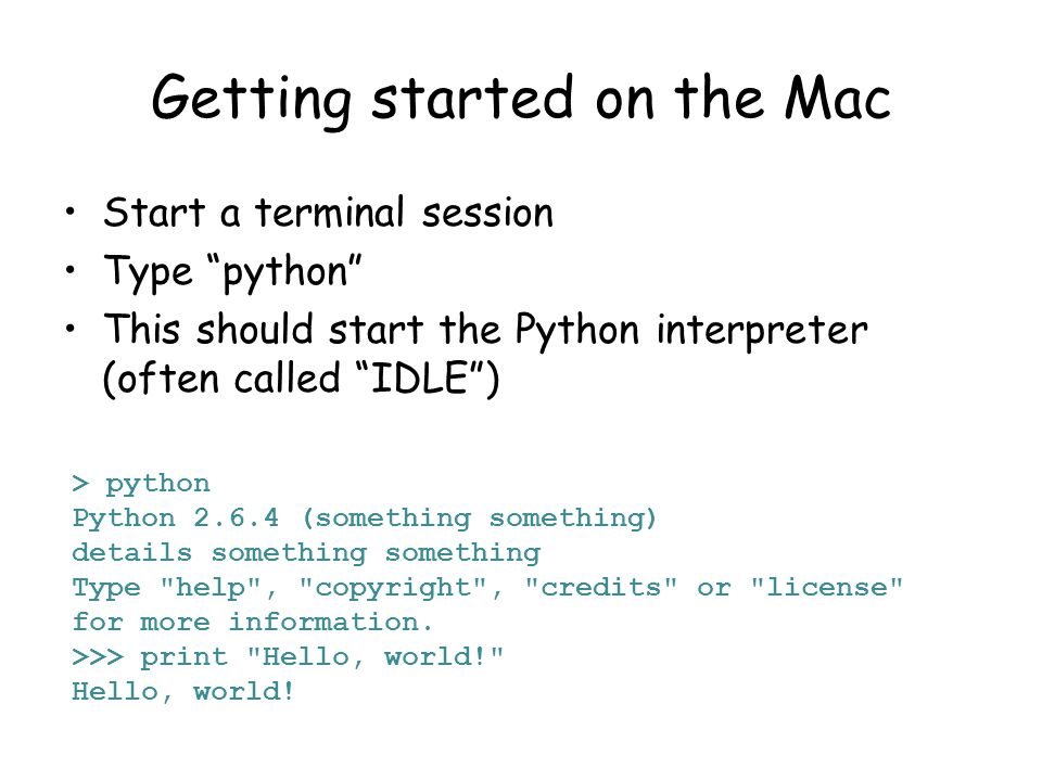 Getting started on the Mac