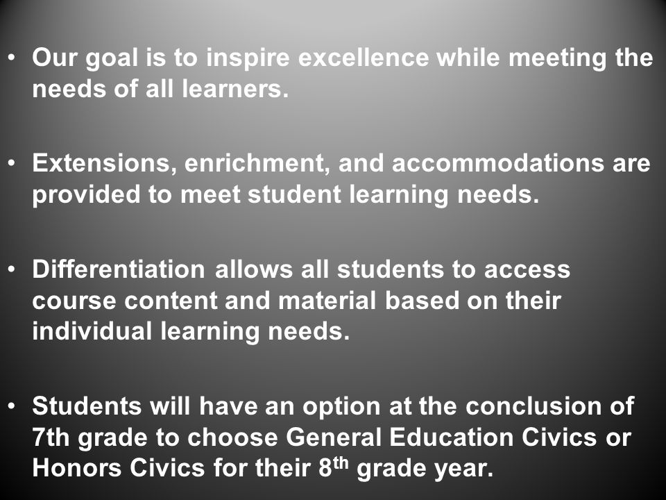 Our goal is to inspire excellence while meeting the needs of all learners.