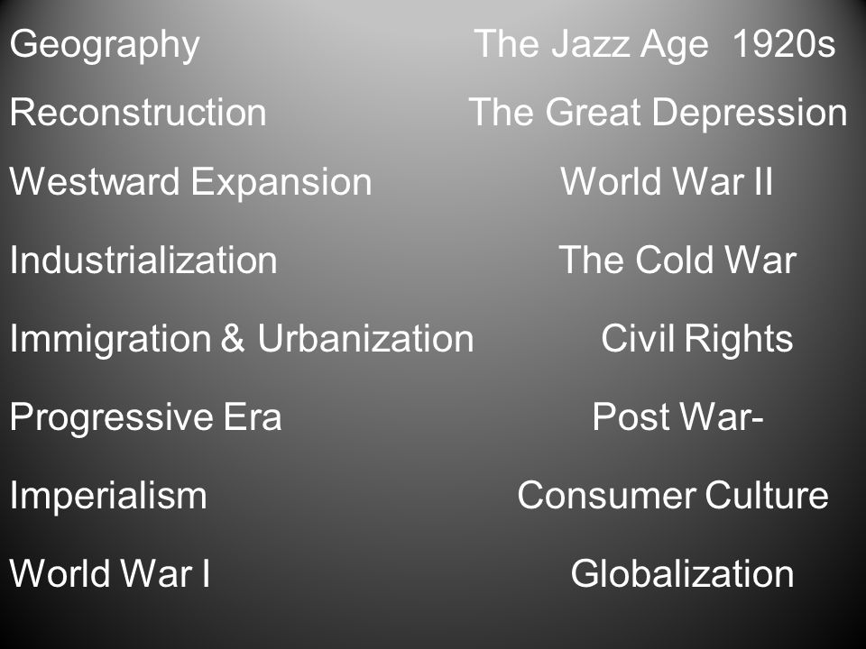 Geography The Jazz Age 1920s Reconstruction The Great Depression Westward Expansion World War II