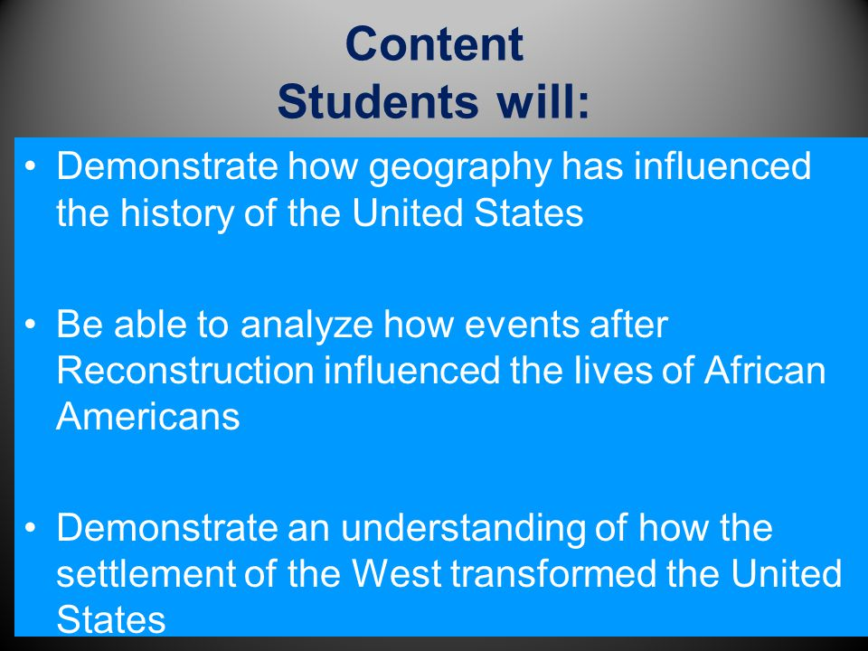 Content Students will: