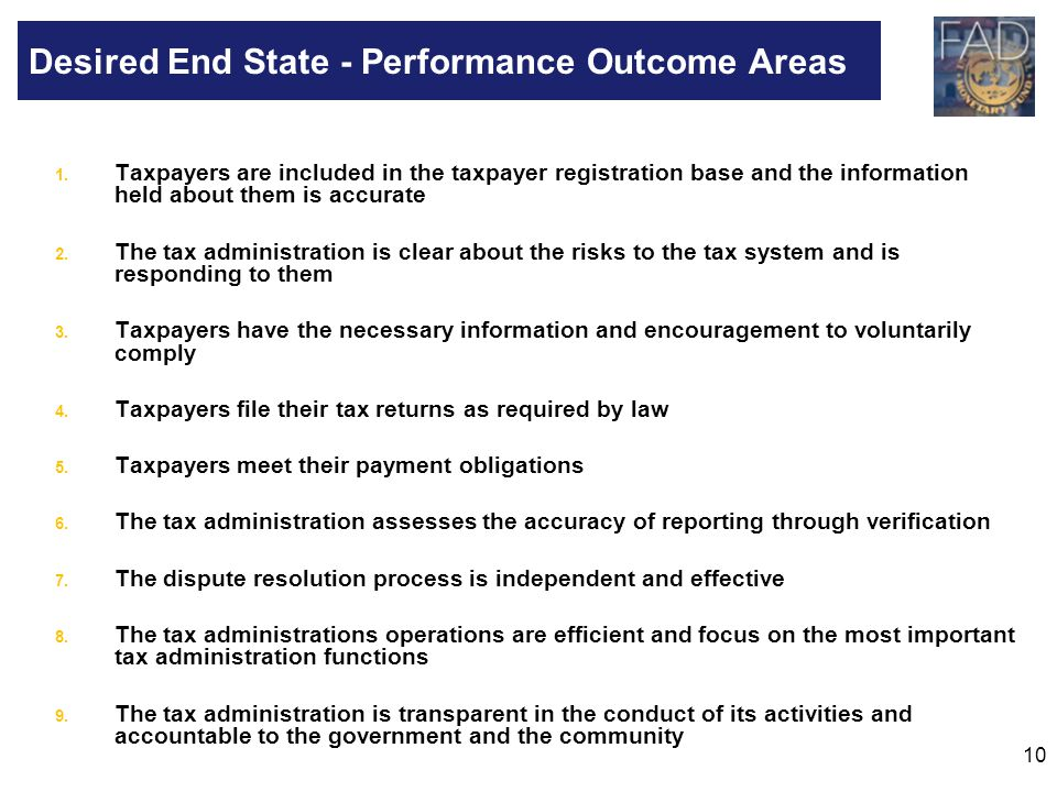 Desired End State - Performance Outcome Areas