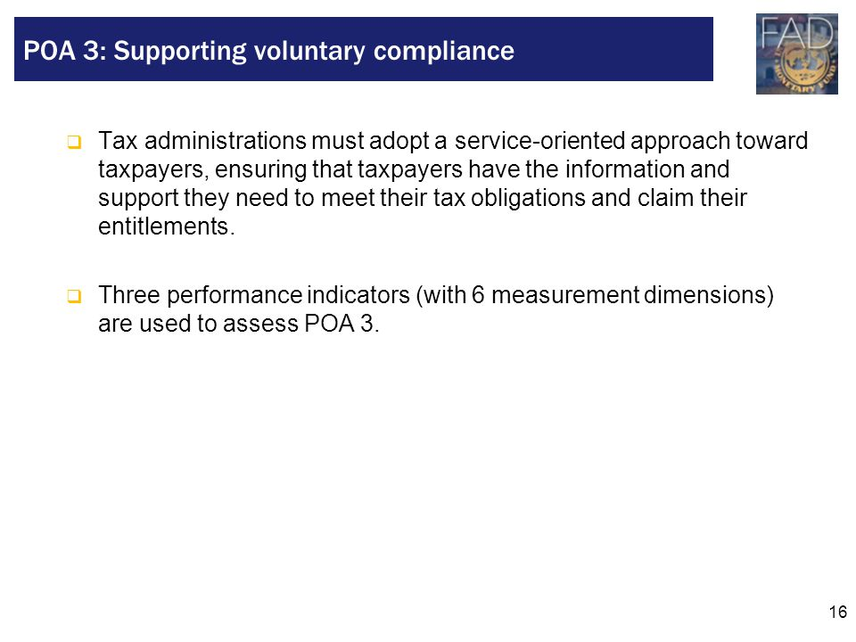 POA 3: Supporting voluntary compliance