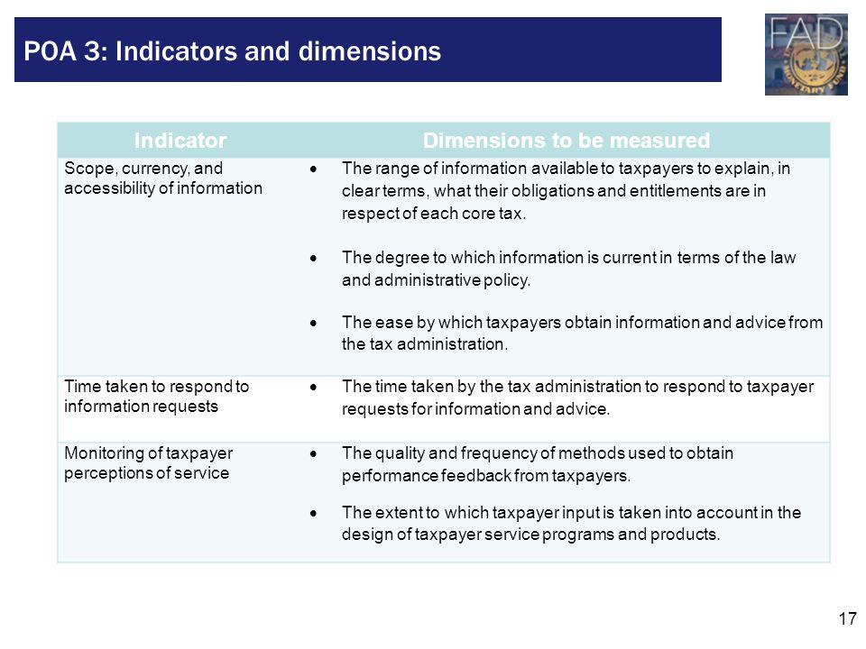 POA 3: Indicators and dimensions