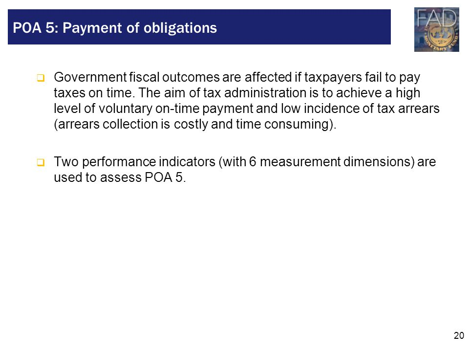 POA 5: Payment of obligations